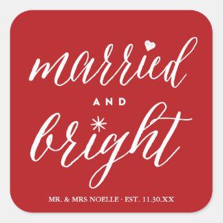 Herr u. Frau Married und heller Quadratischer Aufkleber