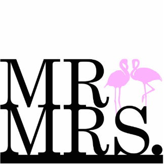 Herr u. Frau Pink u. schwarzer Flamingo-Kuchen-Dec Freistehende Fotoskulptur