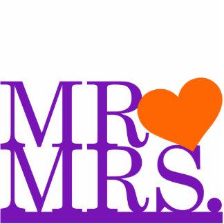 Herr u. Frau Purple u. Orangen-Herz-Kuchen-Deckel Photostatuen