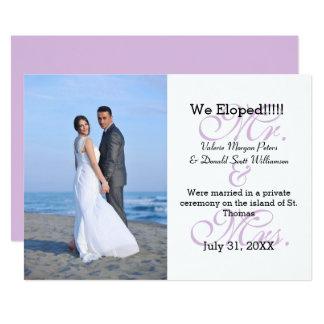 Herr u. Frau Purple We Eloped - Foto-Mitteilung Karte