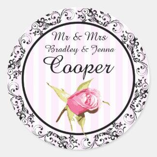 Herr-u. Frau-Stickers Vintage Rose Pink schwarzes Runder Aufkleber