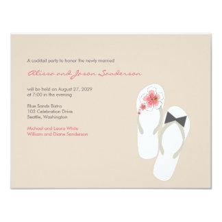 Herr-u. Frau-Summer Flip Flops Strand-Hochzeit 10,8 X 14 Cm Einladungskarte