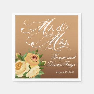 Herr- u. Frauscript Typography Roses Floral Braun Papierserviette