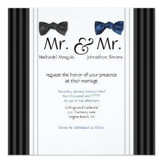 Herr u. Herr Bow Ties u. Button Striped Hochzeit Quadratische 13,3 Cm Einladungskarte