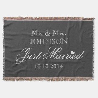 Herr und Frau gerade verheiratete Throwdecke für Decke