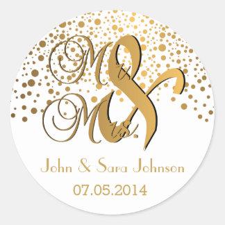 Herr und Frau | Goldpunkte | Wedding| Runder Aufkleber