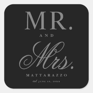 Herr und Frau Hochzeitsaufkleber Quadratischer Aufkleber