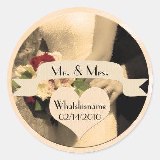 Herr und Frau im Sepia mit Hochzeits-Datum Runder Aufkleber