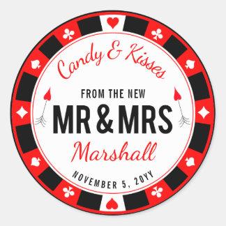 Herr-und Frau-Las Vegas Poker-Chip-Gastgeschenk Runder Aufkleber