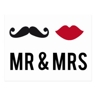 Herr und Frau mit dem Schnurrbart und den roten Postkarte
