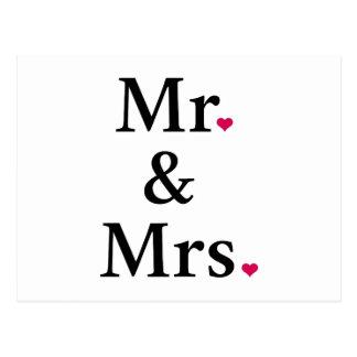 Herr und Frau mit zwei roten Herzen Postkarte