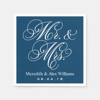 Herr-und Frau-Napkins | Marine-Blau und Weiß Papierserviette