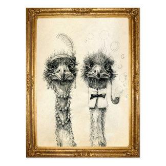 Herr und Frau Ostrich gerahmt Postkarte