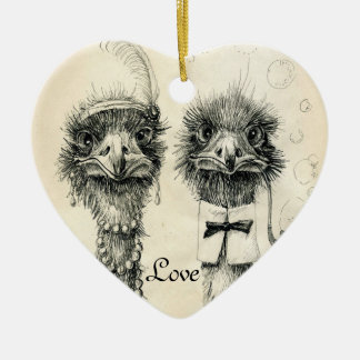 Herr und Frau Ostrich Keramik Ornament