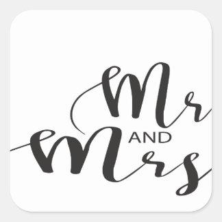 Herr und Frau Quadratischer Aufkleber
