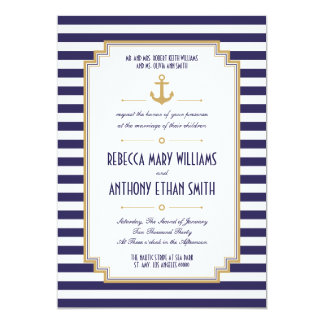 Herr und Frau Stylish Nautical Wedding Invitation Karte