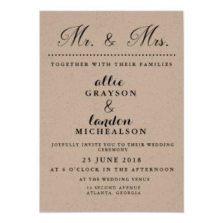 Herr und Frau Wedding Invitation Karte