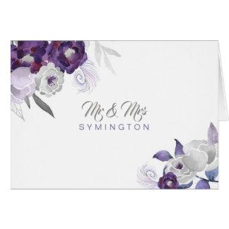 Herr- und Fraupurple Floral Foto danken Ihnen Karte