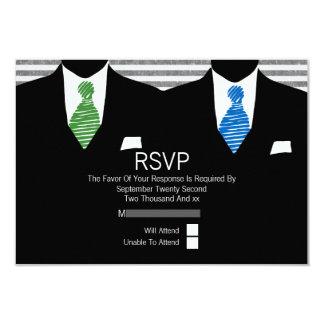 Herr-und grün-blaue Krawatten-homosexuelles 8,9 X 12,7 Cm Einladungskarte