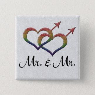 Herr und Herr Gay Pride Quadratischer Button 5,1 Cm