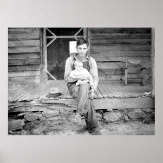 Herr Whitfield, N.C. Sharecropper und Tochter Poster