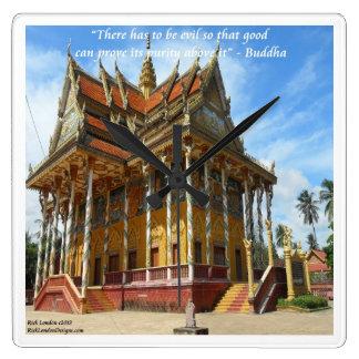 Herrliche buddhistischer Tempel-u. Quadratische Wanduhr