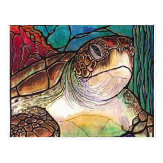 Herrliche Meeresschildkröte-Buntglas-Art-Kunst Postkarte