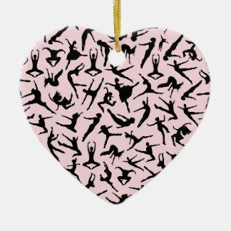 Herrliche Tänzer-rosa Herz-Verzierung Keramik Ornament