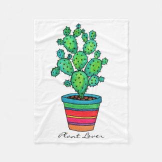 Herrlicher Aquarell-Kaktus im schönen Topf Fleecedecke