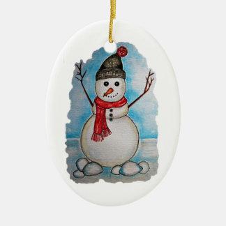 Herrlicher Aquarell-Schneemann mit Schal und Hut Keramik Ornament