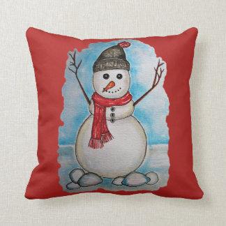 Herrlicher Aquarell-Schneemann mit Schal und Hut Kissen