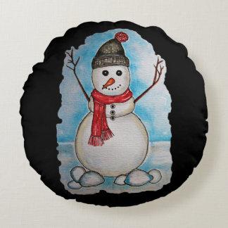 Herrlicher Aquarell-Schneemann mit Schal und Hut Rundes Kissen