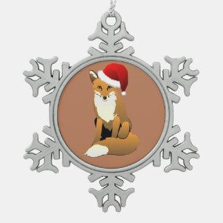 Herrlicher Fox in der Weihnachtsmannmütze Schneeflocken Zinn-Ornament
