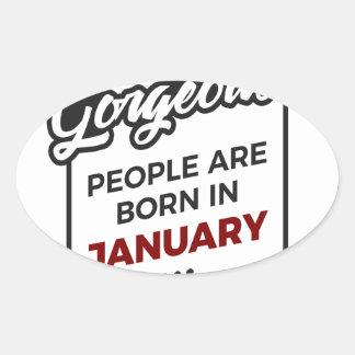 Herrlicher geborener im Januar Baby-Geburtstag Ovaler Aufkleber