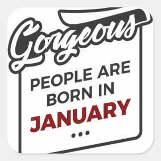 Herrlicher geborener im Januar Baby-Geburtstag Quadratischer Aufkleber