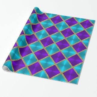 Herrlicher Glitter-Türkis und lila Quadrate Geschenkpapier