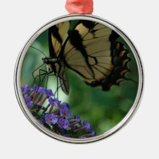 Herrlicher Tiger-Frack-Schmetterling Silbernes Ornament