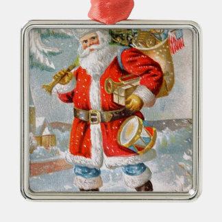 Herrliches amerikanisches patriotisches quadratisches silberfarbenes ornament
