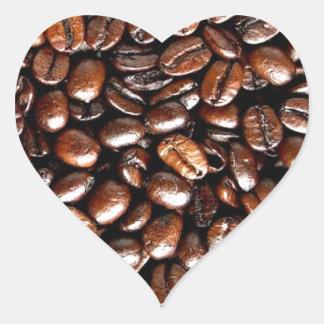 Herrliches Kaffee-ganze Bohnen-Muster Herz Sticker