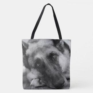 Herrliches Schäferhund-Schwarzes u. Weiß Tasche