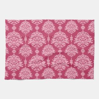 Herrliches Shabby Chic-Rosa auf rosa Damast Küchentuch