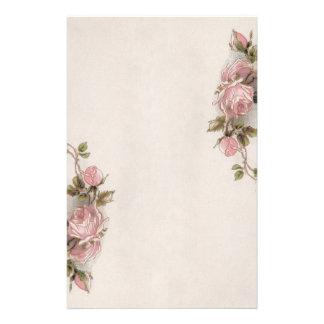 Herrliches Vintages rosa Rosen-Briefpapier Personalisierte Büropapiere