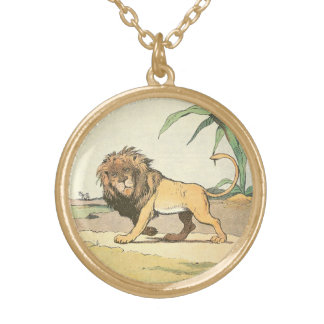 Herumstreichender Dschungel-Löwe illustriert Vergoldete Kette