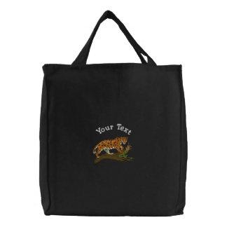 Herumstreichender Leopard Bestickte Taschen
