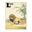 Herumstreichendes Löwe-Geschichten-Buch-Alphabet Postkarte