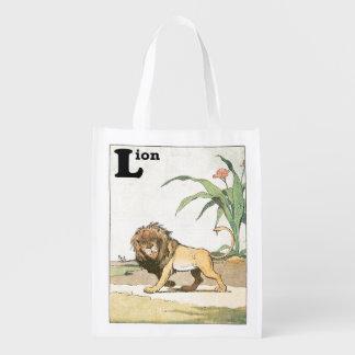 Herumstreichendes Löwe-Geschichten-Buch Wiederverwendbare Einkaufstasche