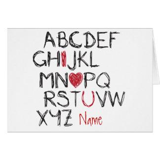 Herz ABCs I Sie personalisiert Karte