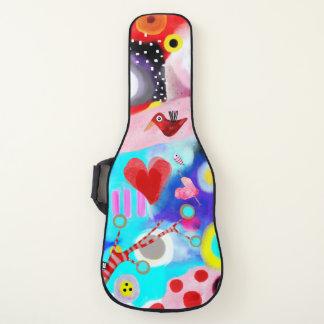 Herz-abstrakter Kunst-Rot-Vogel Gitarrentasche