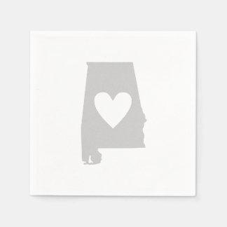 Herz-Alabama-Staats-Silhouette Serviette