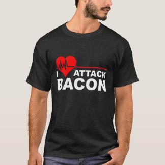 Herz-Angriffs-Speck-lustiges T - Shirtschwarzes T-Shirt